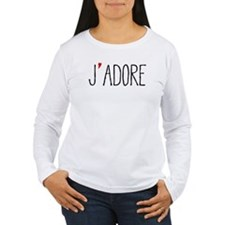 Je adore, french word art with red heart Long Slee