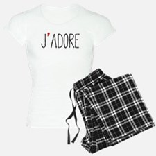 Je adore, french word art with red heart Pajamas
