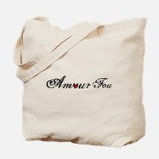 Amour fou, french word art with red heart Tote Bag