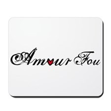 Amour fou, french word art with red heart Mousepad