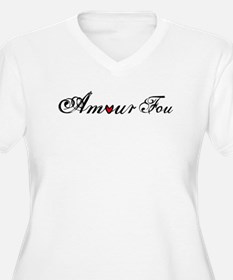 Amour fou, french word art with red heart Plus Siz