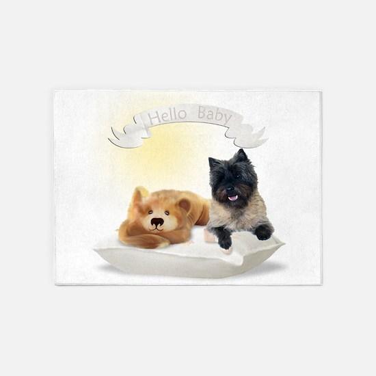 Hello Baby Cairn Terrier 5'x7'Area Rug