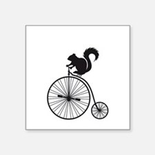 squirrel on vintage bicycle Sticker