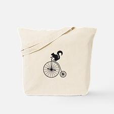 squirrel on vintage bicycle Tote Bag
