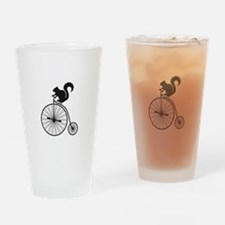 squirrel on vintage bicycle Drinking Glass