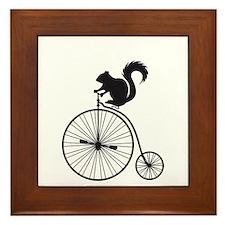 squirrel on vintage bicycle Framed Tile