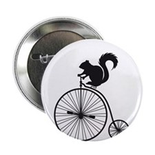 """squirrel on vintage bicycle 2.25"""" Button"""