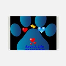 blue paw with hearts save a life Rectangle Magnet