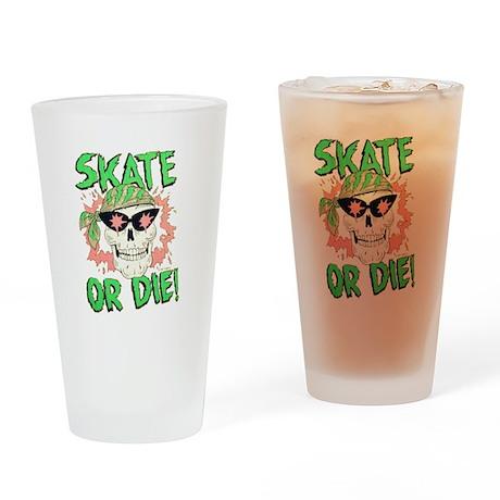 Retro 80s Skate or Die Skull Drinking Glass