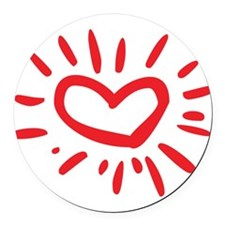Lovely Heart Round Car Magnet