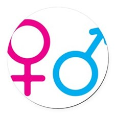 Female and Male Round Car Magnet