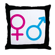 Female and Male Throw Pillow