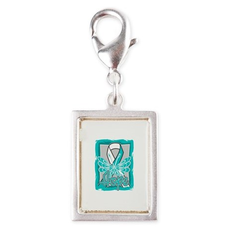 Butterfly Cervical Cancer Silver Portrait Charm
