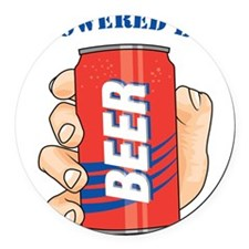Powered By Beer Round Car Magnet
