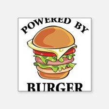 "Powered By Burger Square Sticker 3"" x 3"""