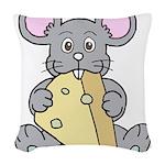 Mouse & Cheese Woven Throw Pillow