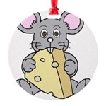 Mouse & Cheese Round Ornament