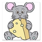 Mouse & Cheese Square Car Magnet 3