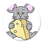 Mouse & Cheese Round Car Magnet