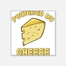 """Powered By Cheese Square Sticker 3"""" x 3"""""""