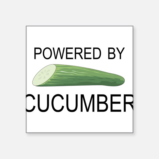 """Powered By Cucumber Square Sticker 3"""" x 3"""""""