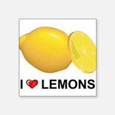 "I Love Lemons Square Sticker 3"" x 3"""