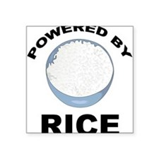 "Powered By Rice Square Sticker 3"" x 3"""