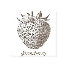 "Vintage Strawberry Square Sticker 3"" x 3"""