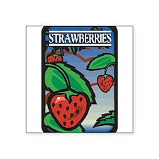 "Strawberries Square Sticker 3"" x 3"""