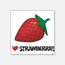 "I Love Strawberries Square Sticker 3"" x 3"""