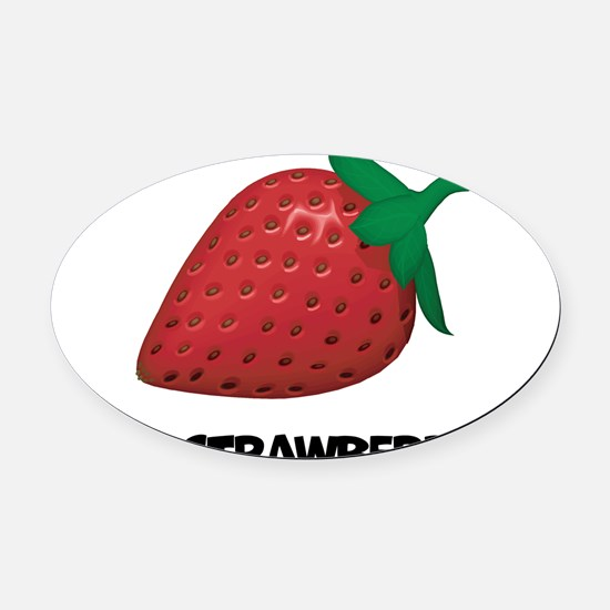 I Love Strawberries Oval Car Magnet
