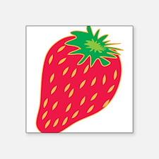 """Strawberry Square Sticker 3"""" x 3"""""""