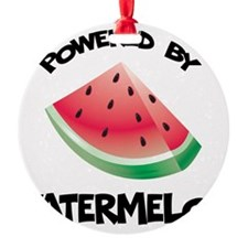 Powered By Watermelon Round Ornament