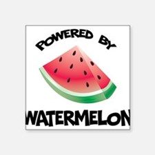 "Powered By Watermelon Square Sticker 3"" x 3"""