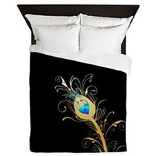 Elegant Black and Gold Peacock Feather Queen Duvet