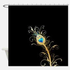 Elegant Black and Gold Peacock Feather Shower Curt