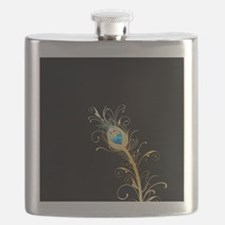 Elegant Black and Gold Peacock Feather Flask