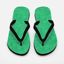 Green Parchment Look Flip Flops