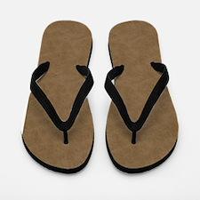 Brown Parchment Look Flip Flops