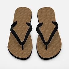 Textured Brown Look Flip Flops