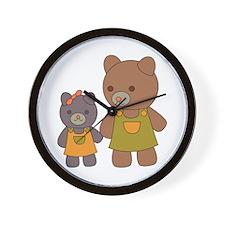 Teddy Bear Siblings Wall Clock