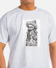 Organic T-Shirt-Skeleton with bottle and mustache