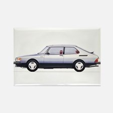 Silver Saab 900 Rectangle Magnet