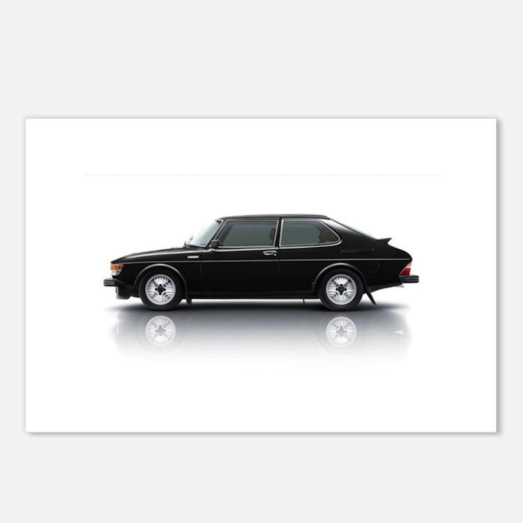 Black Saab 900 Postcards (Package of 8)