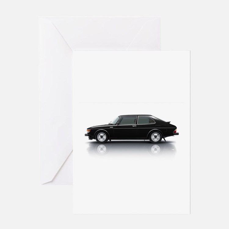 Black Saab 900 Greeting Card