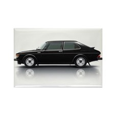Black Saab 900 Rectangle Magnet