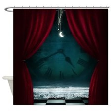 Steam Dreams: Surreal Clock Scene Shower Curtain