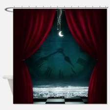 Steam Dreams: Surreal Clock Scene Shower Curtain