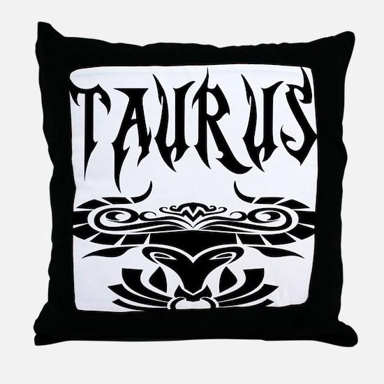 Taurus black letters Throw Pillow