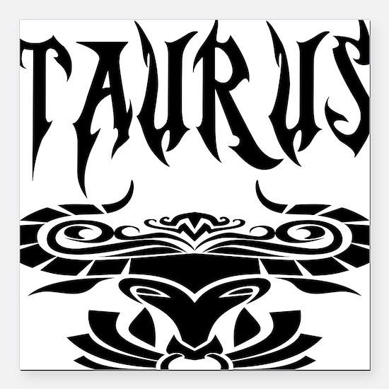 "Taurus black letters Square Car Magnet 3"" x 3"""